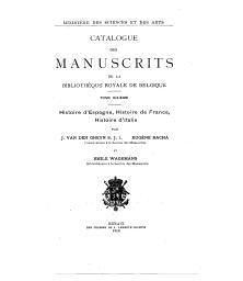 Catalogue des manuscrits de la Bibliothèque royale de Belgique   Van den Gheyn, Joseph Marie Martin (1854-1913) - S.J. Auteur