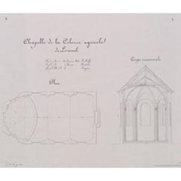 Chapelle de la colonie agricole de Lommel Document cartographique [fait et dressé par le conducteur soussigné] Keelhof ; [vu par l'ingénieur en chef] Kümmer ; [approuvé par le ministre de l'Intérieur] Rogier | Keelhoff, Flore-Joseph ((1818-1891))