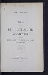 Essai de bibliographie verviétoise | Weber, Armand