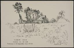 Paysage comportant une ferme en ruines, dans la zone de combat, Yser, 1915 | Nobels, A. Artiest