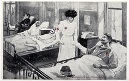 La Reine à l'hôpital soignant nos soldats blessés postcard |