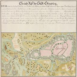 Grund-Riss der Stadt Strasburg ... Document cartographique G.H.H. f[ecit]   G.H.H (flor. ca 1734)