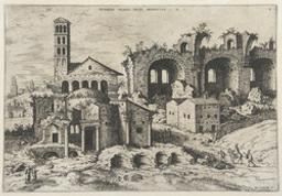 The Temple of Augustus and Faustina, the Temple of Divus Romulus and the Basilica of Constantine | Cock, Hieronymus (fl. 1548-1570). Dessinateur-maquettiste