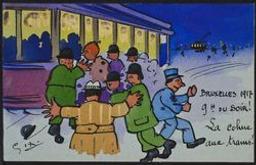 Bruxelles 1917 9 h du soir! La cohue aux trams! postcard |