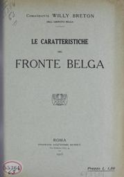 Le caratteristiche del fronte belga Willy Breton | Breton, Willy - pseudonimo di William Henry Marsily