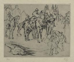 Louvain, 1914 (Patrouille de uhlans). E.-f. par Alfred Delaunois | Delaunois, Alfred (Bruxelles, 1876-1941) - graveur. Artiest
