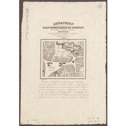 Spécimen du plan géométrique de Tournay Document cartographique dressé d'après les opérations cadastrales par Ud Picquet ; gravé par De Lahoese | Picquet, Ubald-Joseph (1814-1880)