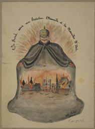 Je prend sous ma protection l'humanité et les merveilles d'arts (sic). Composition satirique se rapportant à la guerre 1914-1918. (Portrait-charge de Guillaume II, empereur d'Allemagne)   Aubert, Victor. Artiste