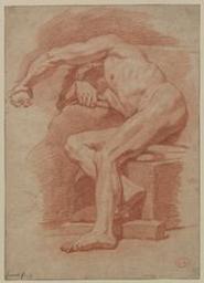 Academy study of a male nude Graphic | Jouvenet, Jean-Baptiste (Rouen, 1644 - Paris, 1717) - peintre d'histoire et de portraits ; fils de Laurent Jouvenet le jeune. Illustrateur