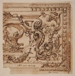 Fragment of a design for a ceiling decoration Graphic   Grimaldi, Giovanni Francesco (1606-1680). Illustrateur