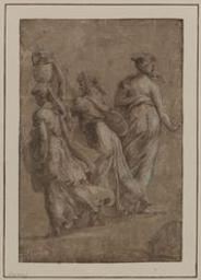 Three female figures seen from the back, one carrying a jar on her head Graphic | Firenze, Maturino da (1490-1527/28). Illustrateur