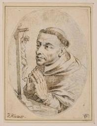 Saint Francis in prayer before a crucifix Graphic | Wierix, Hieronymus (Anvers, 1553 - 1619). Nom attribué