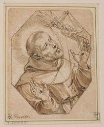 Saint Francis receiving the stigmata Graphic | Wierix, Hieronymus (Anvers, 1553 - 1619). Attributed name